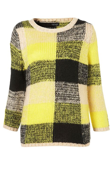 yellow knitted jumper topshop knitted battenburg jumper in yellow lyst