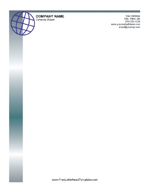 business letterhead with globe