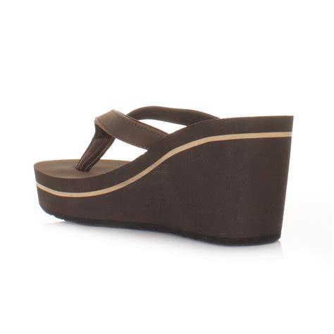 flip flop wedge sandals womens animal swell brown wedge heel soft flip flops