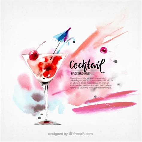 cocktails background watercolor cocktail background vector free
