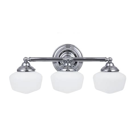 Sea Gull Vanity Lighting Shop Sea Gull Lighting Academy 3 Light 10 In Chrome Schoolhouse Vanity Light At Lowes