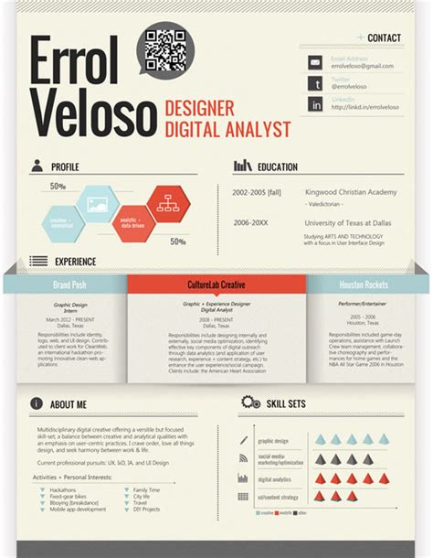 Resume Graphic Design Inspiration Errol Veloso Creative Resume Inspiration