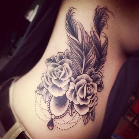 indian rose tattoo and feather inked