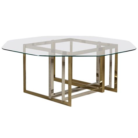 Steel Dining Room Table Contemporary Brass And Stainless Steel Octagonal Dining Table For Sale At 1stdibs