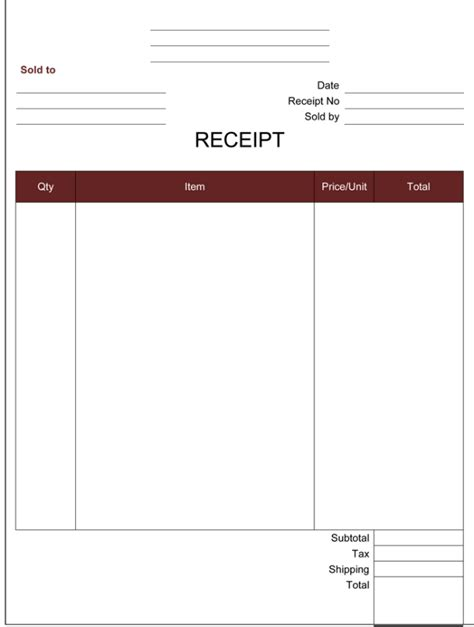doc 514663 simple receipt template for excel bizdoska com