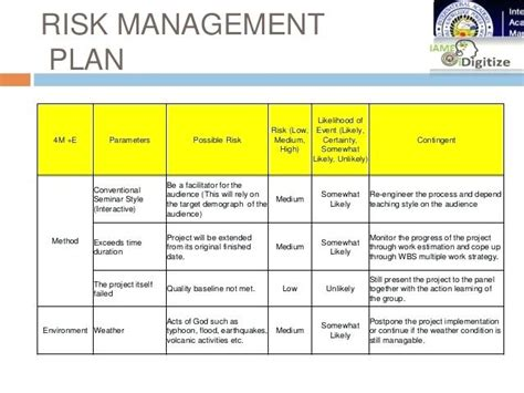 risk management plan template pdf project risk management plan risk register project