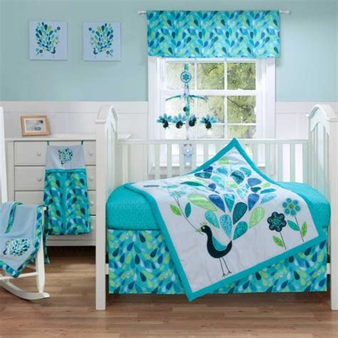 Peacock Blue 4 Piece Baby Crib Bedding Set With Bumper By 4 Crib Bedding Set