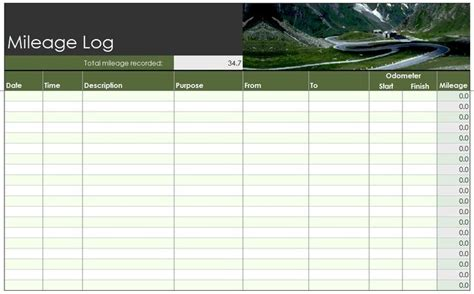 gas mileage log template free mileage log template food truck logs