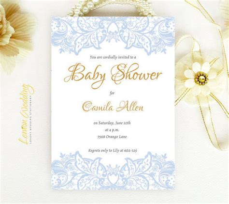 Nautical Theme Wedding - elegant baby shower invitation blue from lemonwedding on etsy