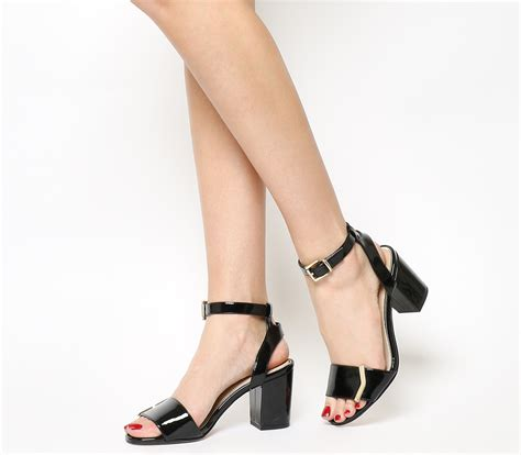 Two Block Heel Sandal - office mango two part trim block heel sandals black patent