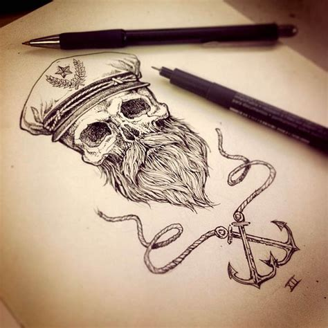 bearded skull tattoo awesome beard beards bearded nautical sailor