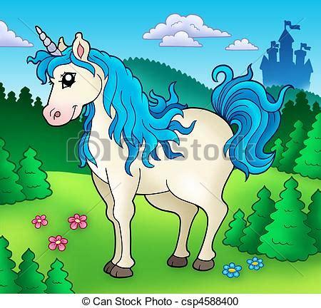 imagenes de unicornios a color stock de ilustration de lindo bosque unicornio lindo