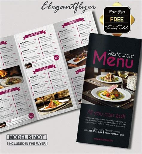 15 Free Exclusive Menu Psd Templates For Cafes And Restaurants By Elegantflyer Tri Fold Restaurant Menu Templates