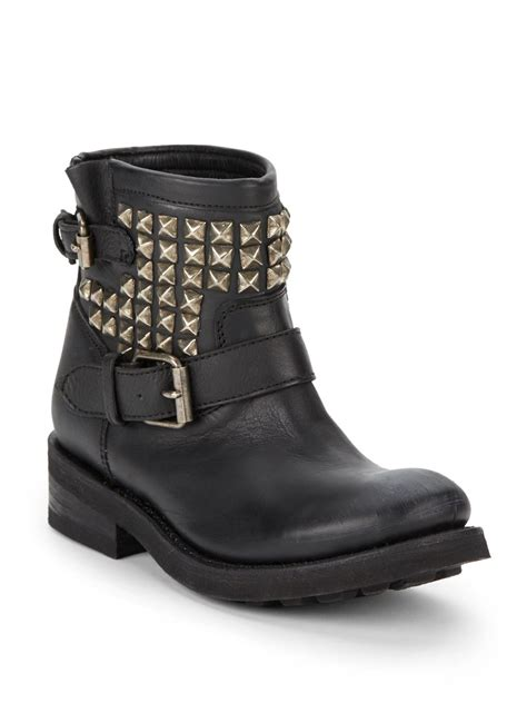 ash tr studded leather ankle boots in black lyst