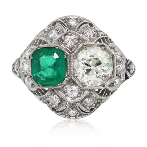 vintage platinum european cut and emerald ring