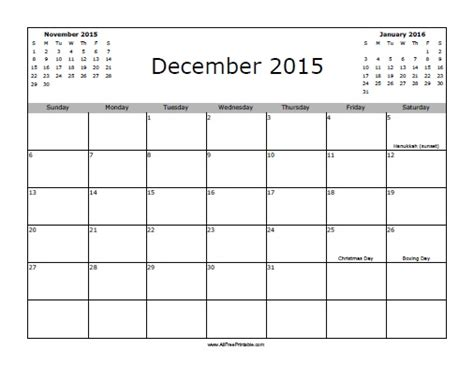 december 2015 calendar with holidays free printable
