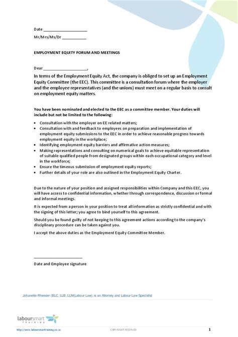 Labour Letter Of Appointment Ee Member Appointment Letter Document Labour South Africa Pdf