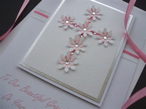 Handmade Baptism Cards - luxury floral cross christening card handmade cards