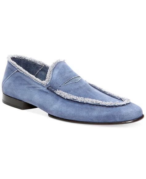 donald pliner loafers lyst donald j pliner vian loafers in blue for
