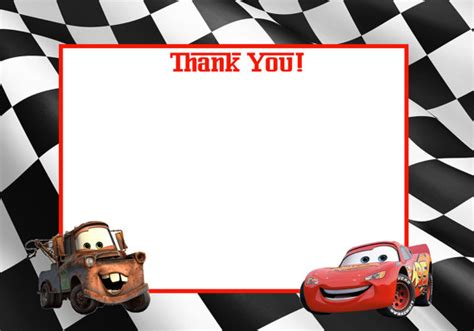 automobile thank you card template free items similar to instant disney cars printable