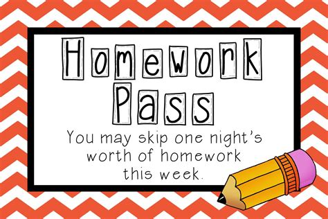 free homework pass template i teach i create homework pass