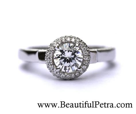 14k white gold engagement ring halo unique