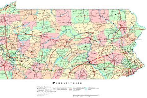 map of pa counties pennsylvania printable map