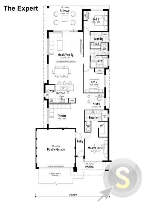 3x2 house plans the expert floorplan 12m frontage 3x2 alfresco theatre study view elevation http