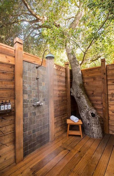 Out Door Showers Outdoor Shower With Vintage Gooseneck Shower Cottage Deck Patio