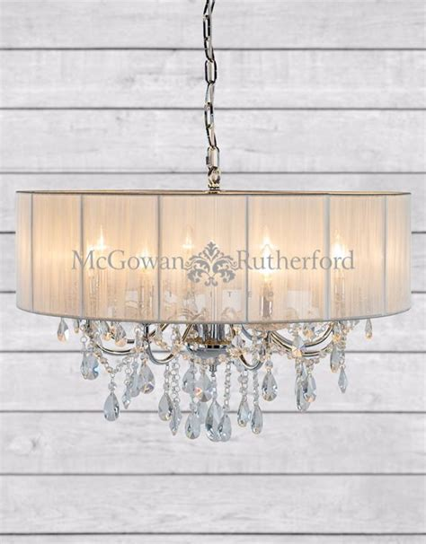 White Branch Chandelier Chrome 8 Branch Chandelier With White Shade