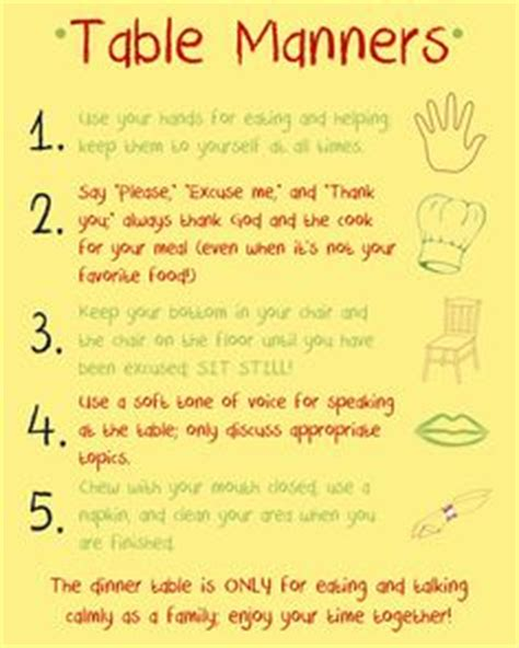 Ways To Improve Your Table Manners by Great Chart And Tips On How To Improve Table Manners For