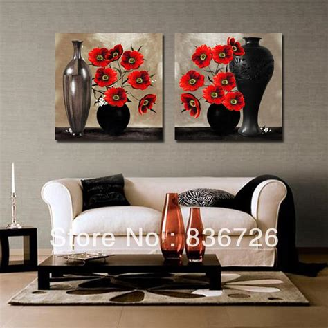 black art home decor 2 piece canvas wall art abstract paintings black and red