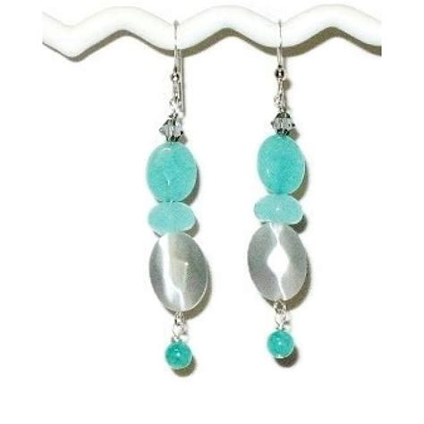 sea green and grey dangle earrings