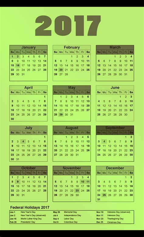 yearly calendar 2017 with holidays federal 2017 calendar printable for free download india