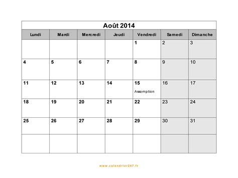 Calendrier Juillet Aout 2013 Calendrier Ao 251 T 2014 224 Imprimer Gratuit En Pdf Et Excel