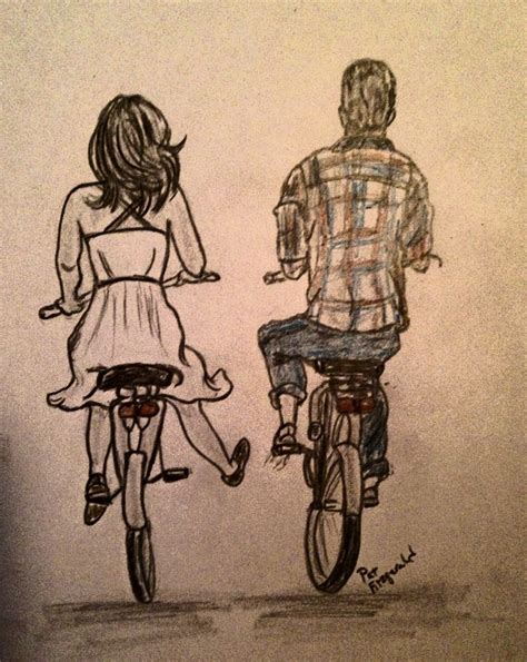 street riding and boy fall in love on street riding bicycle