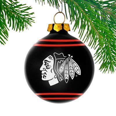 chicago blackhawks glitter logo glass ball ornament