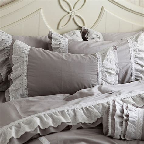 gray ruffle bedding lace bedding set