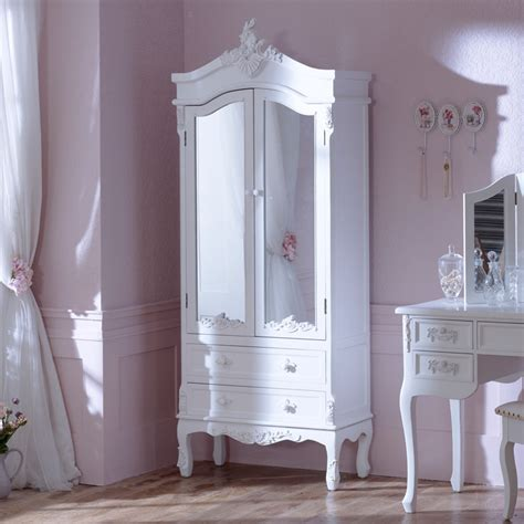 White Closet With Mirror Antique White Ornate Mirror Shabby Chic Wardrobe