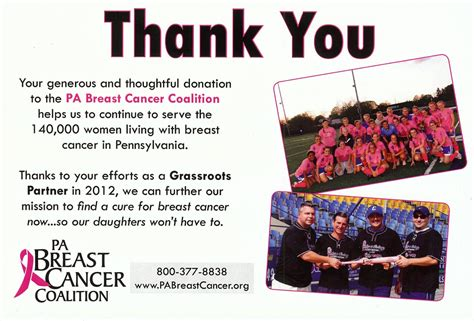 Thank You Letter For Cancer Donation From The Pa Breast Cancer Coalition Pa Snowseekers