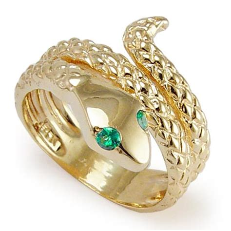 anzor jewelry 14k gold snake emerald eye serpent ring
