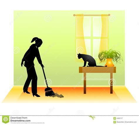 sweeping the floor with cat royalty free stock photography