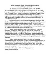 Argumentative Essay Exles 6th Grade by Persuasive Essay Exles 6th Grade