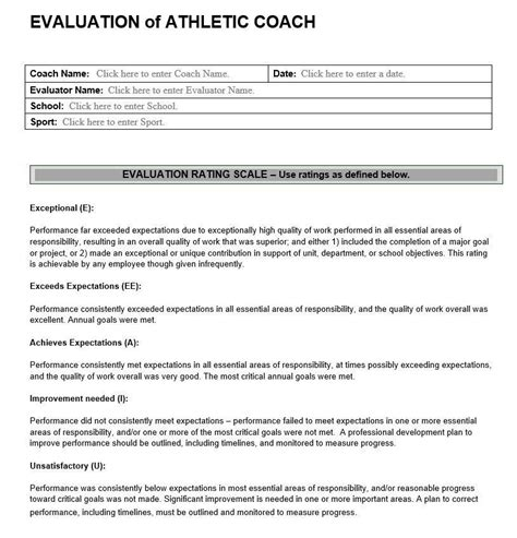 Evaluation Of Athletic Coach Athletic Evaluation Assessment Forms Coaching Form Template