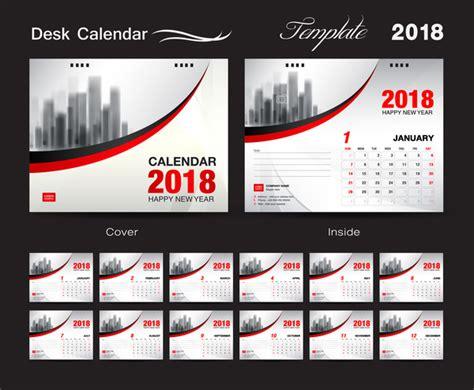 Calendar Cover Desk Calendar 2018 Template With Cover Vector 07