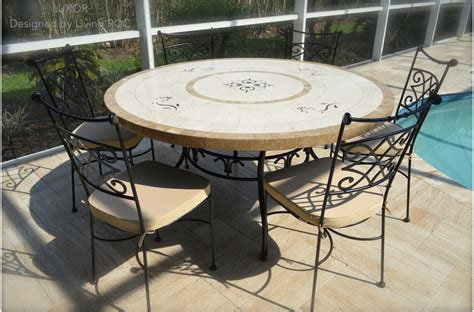 Mosaic Outdoor Dining Table 60 Quot Large Marble Mosaic Patio Dining Table Luxor
