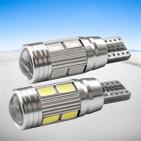 10pcs w5w 10 led 5630 5730 smd projector lens canbus error free auto clearance lights t10 car