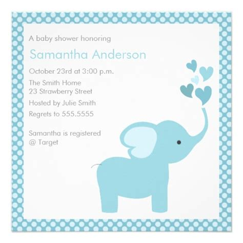 Elephant Baby Boy Shower Invitations by Elephant Hearts Baby Shower Invitation Boy Zazzle
