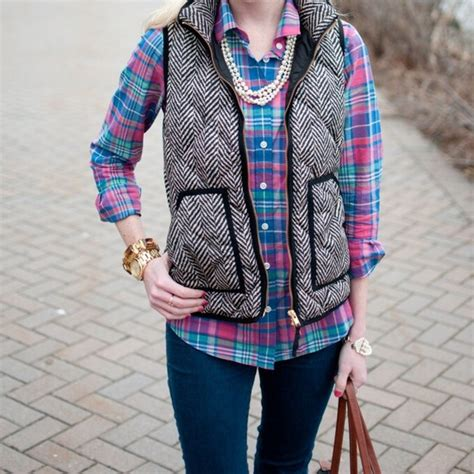 Excursion Quilted Vest In Herringbone by J Crew J Crew Factory Excursion Vest In Herringbone
