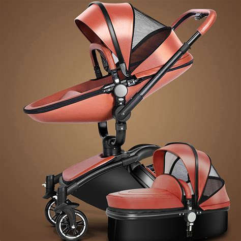 leather pushchair stroller new baby stroller 2 in 1 leather carriage infant travel